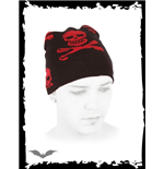 Black beanie with red skulls