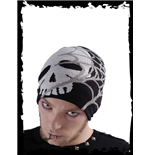 Black beanie with spider web and skull