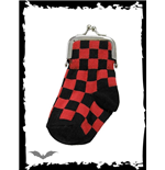 Black/red chequered sock purse