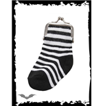 Black/white striped sock purse