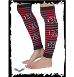 Red/black striped legwarmer with cross