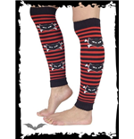 Black/red striped legwarmer with skull