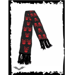 Black scarf with red skulls & X-bones