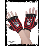 Black/red plaid fingerless gloves
