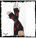 Black arm warmers. 3 Red skull & X-bones