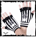 Black/white striped fingerless gloves