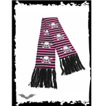 Black/pink striped scarf - Skulls