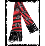 Black/red striped scarf with iron cross