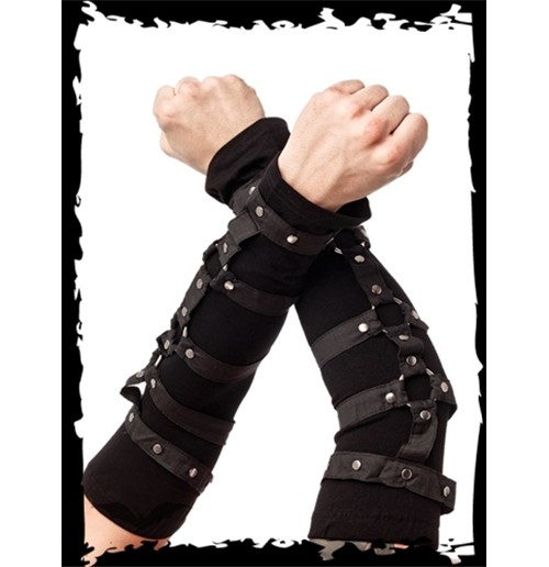 Black Arm Warmers with Rings and Studs