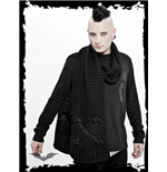 Black knitted scarf wirh subtle skull