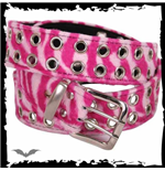 Pink zebra fur belt with grommets