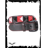 Belt with black & red pyramid studs