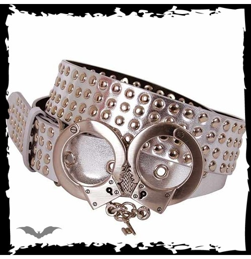 Silver with 4 rows of studs. Handcuffs o