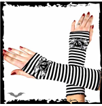 Arm warmers. Black / white striped. Catb