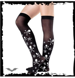 Sheer knee socks, white skulls, X-bones