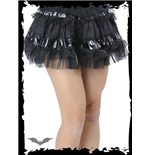 Ruffled skirt with leather look fabric