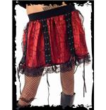 Red miniskirt with black net layer
