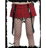 Red Leopard Skirt with Bondage Straps