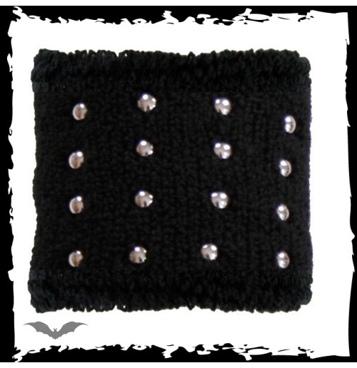 Black wristband. Small round chrome stud