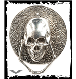 silver door handle with skull