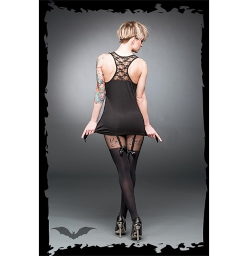 Garter belt look stockings with bows