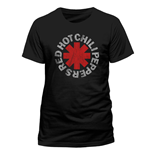 RED HOT CHILI PEPPERS Distressed Asterisk T-Shirt, Unisex, Extra Large, Black