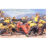 'Mansells debut victory for Ferrari' F1 print by by Alan Fearnley, individually hand signed by Nigel Mansell OBE