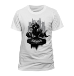 DC COMICS Batman Arkham Knight Gotham City Skyline T-Shirt, Unisex, Extra Large, White
