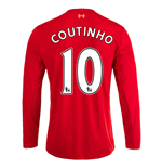 2015-16 Liverpool Home Long Sleeve Shirt (Coutinho 10)