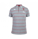2015-2016 England Rugby Stripe Polo Shirt (Grey)