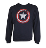 CAPTAIN AMERICA Distressed Shield Crew Neck Sweatshirt