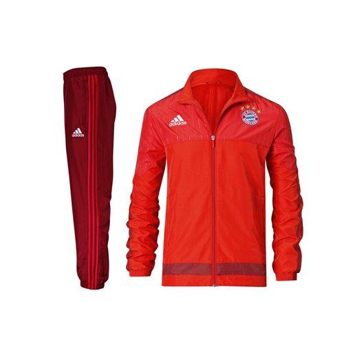 2015 2016 Bayern Munich Adidas Presentation Tracksuit (Red) Kids