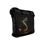 MIAMI INK Snake And Rose Tattoo Messenger Bag, Black