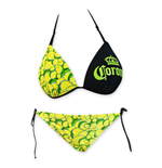 CORONA EXTRA Loop Knot Lime Green Molded String Bottom Bikini