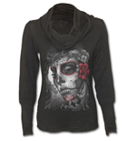 Skull Roses - Cowl Neck Top Black