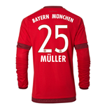 2015-16 Bayern Munich Long Sleeve Home Shirt (Muller 25) - Kids