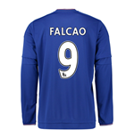 2015-2016 Chelsea Home Long Sleeve Shirt (Falcao 9) - Kids