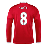 2015-2016 Man Utd Long Sleeve Home Shirt (Mata 8) - Kids