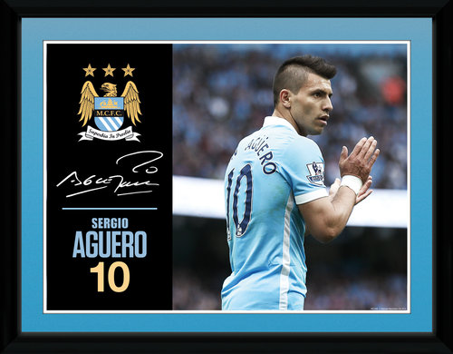 Manchester City Aguero 15/16 Framed Collector Print