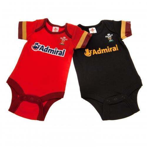 Wales R.U. 2 Pack Bodysuit 9/12 mths GD