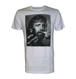 CHUCK NORRIS Selfie with Moustache Finger Men's T-Shirt, Medium, White