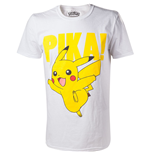 POKEMON Pikachu Pika! Raised Print Men's T-Shirt, Medium, White