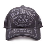 JACK DANIEL'S Old No.7 Brand Embroidered Bleached Vintage Unisex Trucker Baseball Cap, One Size, Black