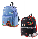 NINTENDO Super Mario Bros. Classic Mario Gameplay Unisex Reversible Backpack, One Size, Black/Blue