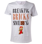NINTENDO Super Mario Bros. Breaking Bricks Since '85 with Jumping Mario Men's T-Shirt, Extra Large, White