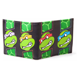 TEENAGE MUTANT NINJA TURTLES (TMNT) Turtles Faces With Shell Patterns Unisex Bi-Fold Wallet, One Size, Black/Green