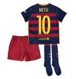 2015-16 Barcelona Home Little Boys Mini Kit (Messi 10)