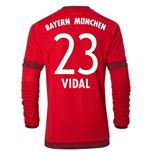 2015-16 Bayern Munich Long Sleeve Home Shirt (Vidal 23) - Kids