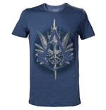 ASSASSIN'S CREED Syndicate Brotherhood Crest Logo with Cane Men's T-Shirt, Small, Blue