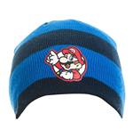 NINTENDO Super Mario Bros. Striped Mario Badge Beanie, One Size, Blue/Black